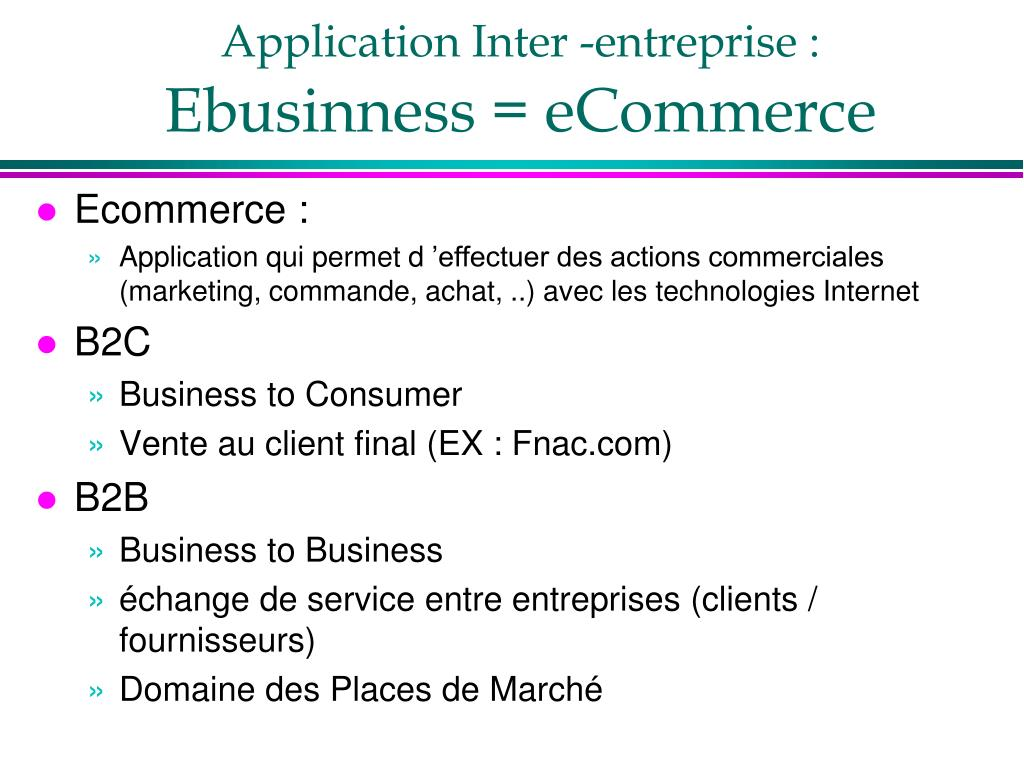 Application Inter -entreprise :