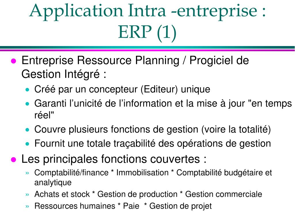 Application Intra -entreprise : ERP (1)