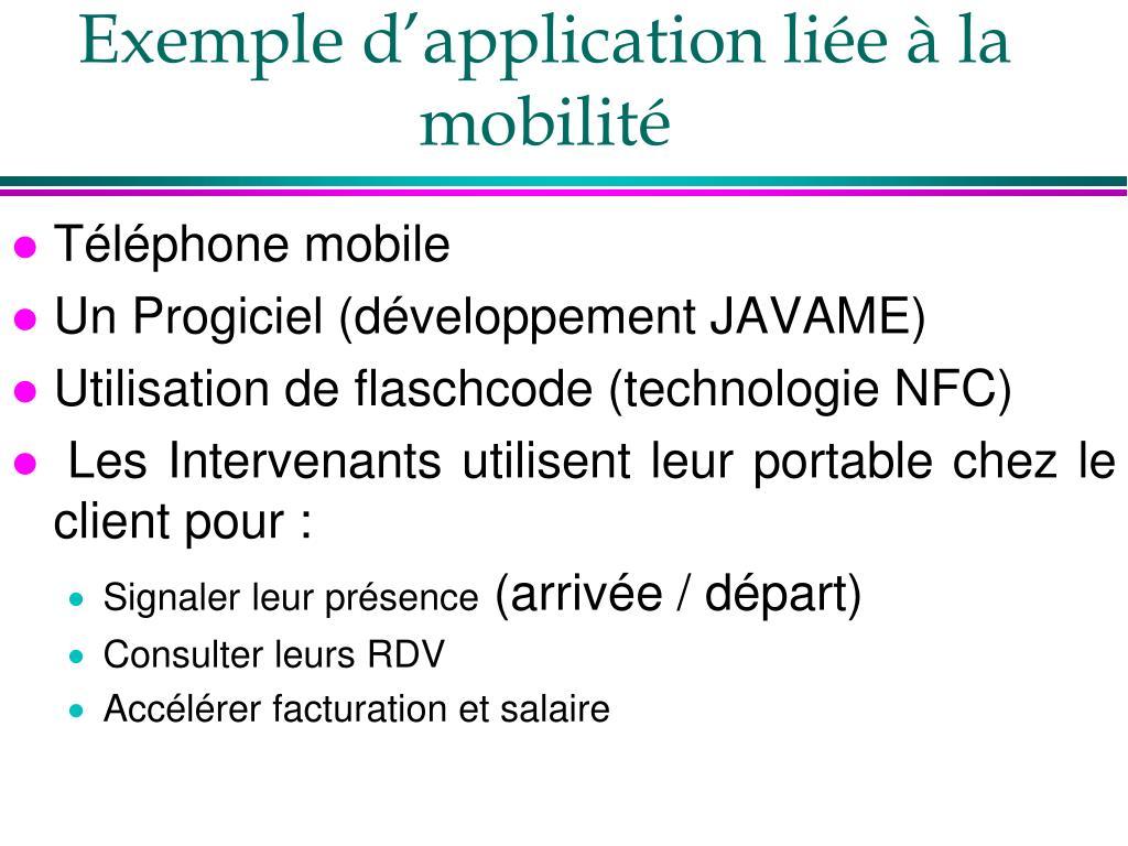 Exemple d'application liée à la mobilité