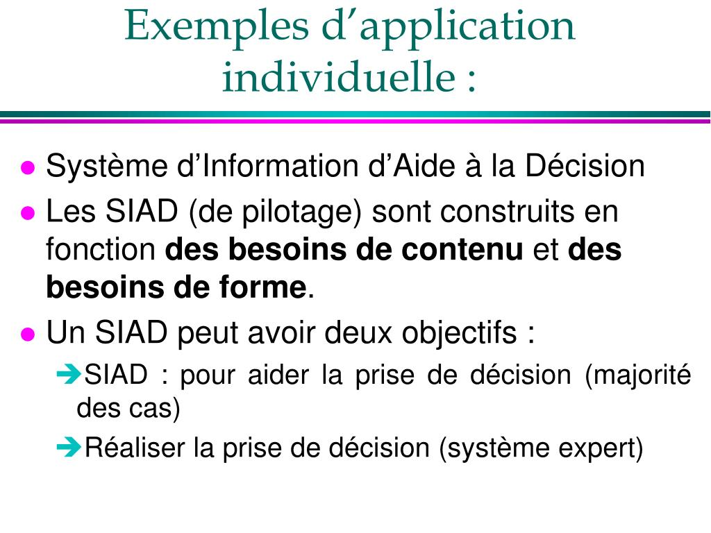 Exemples d'application individuelle :