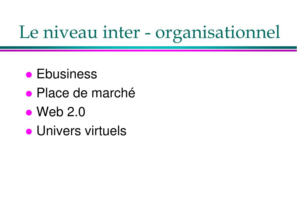 Le niveau inter - organisationnel