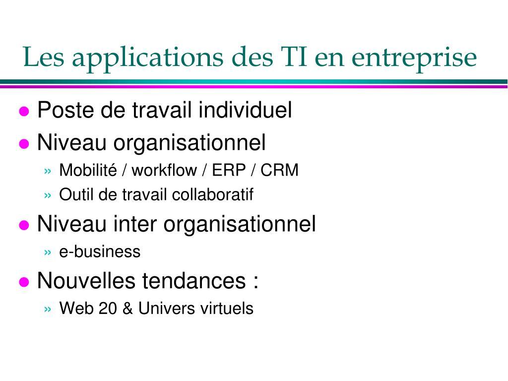 Les applications des TI en entreprise