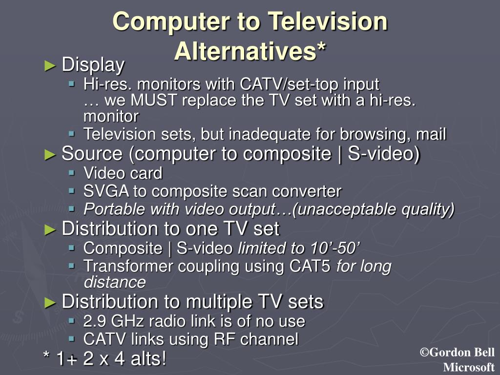 Computer to Television Alternatives*