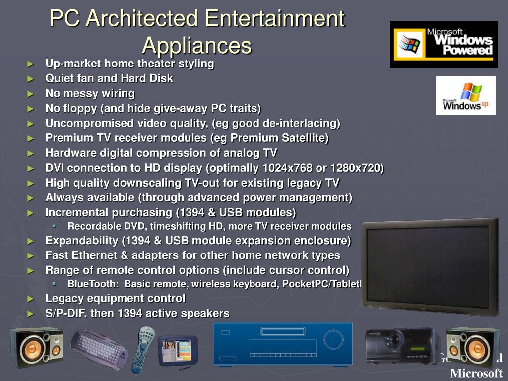 PC Architected Entertainment Appliances