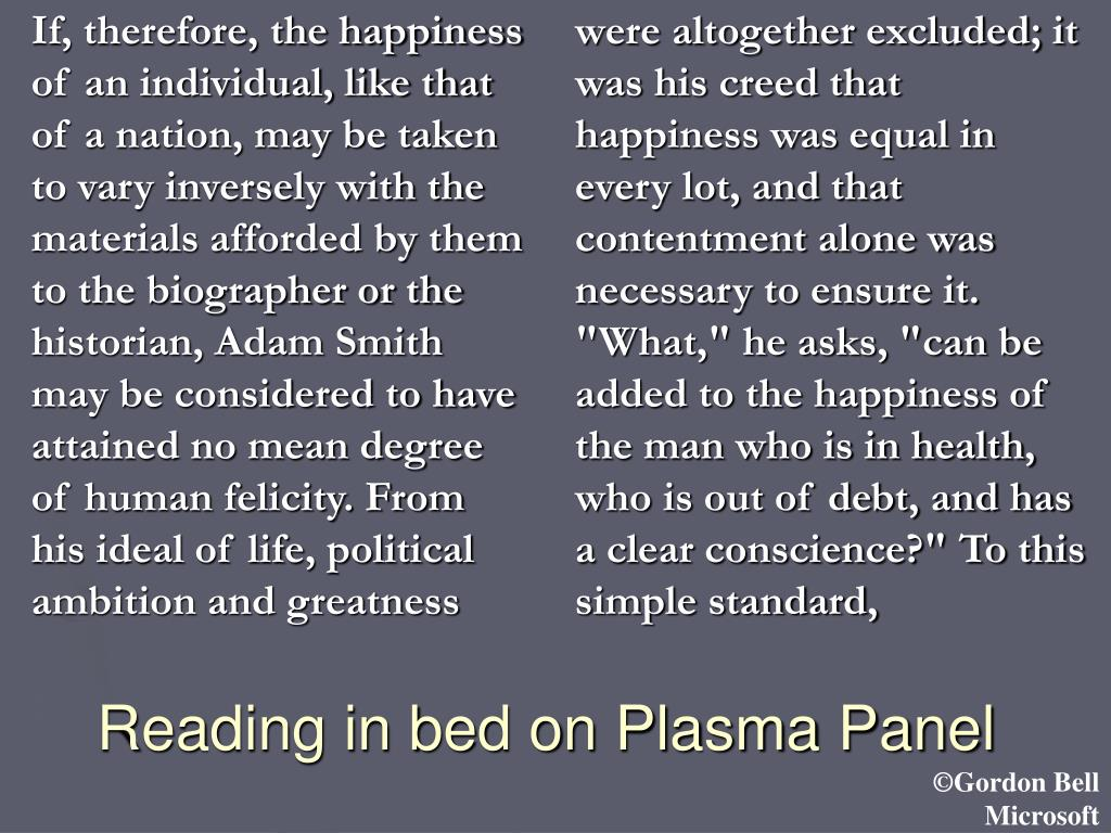 Reading in bed on Plasma Panel