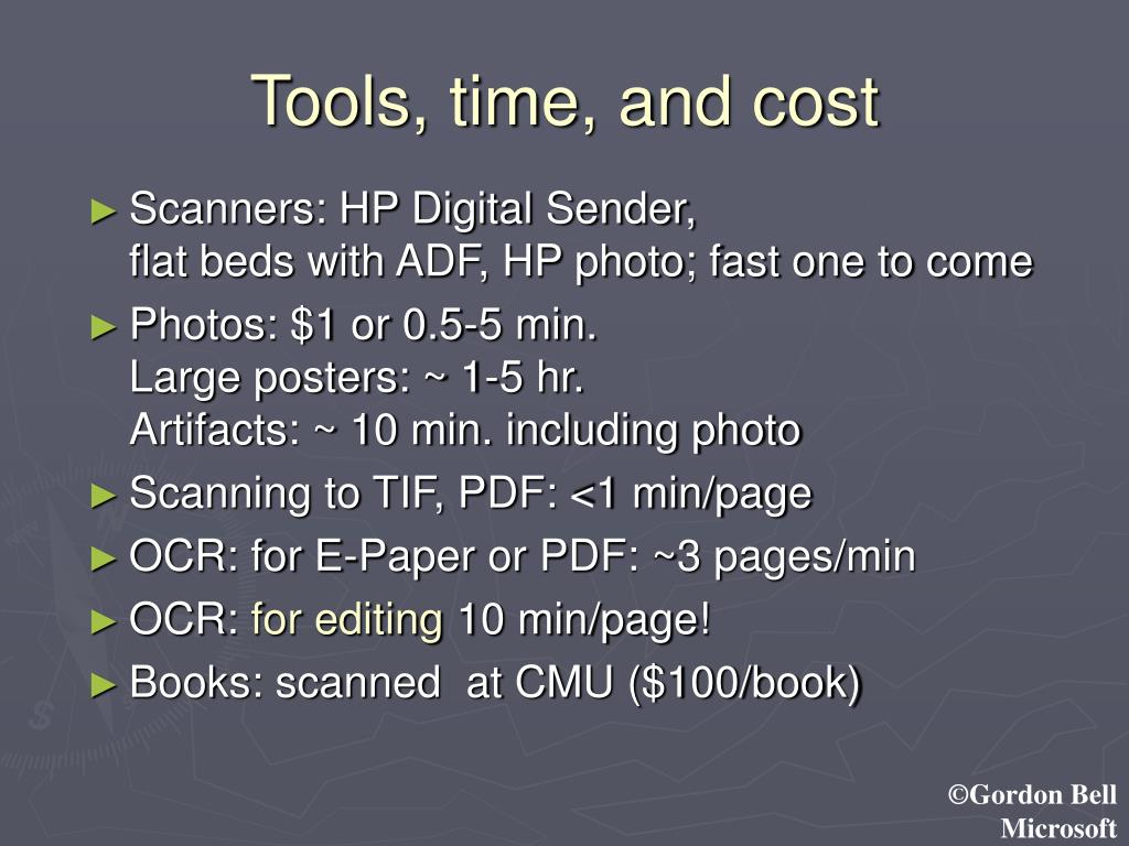 Tools, time, and cost