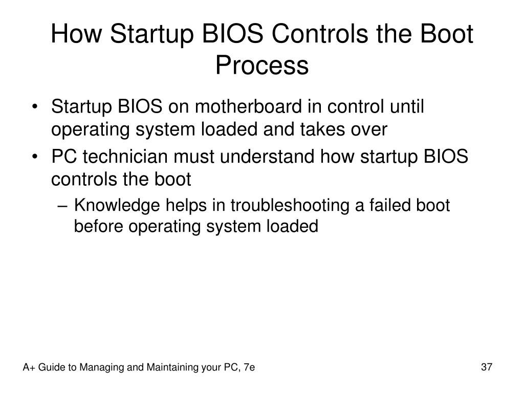 How Startup BIOS Controls the Boot Process