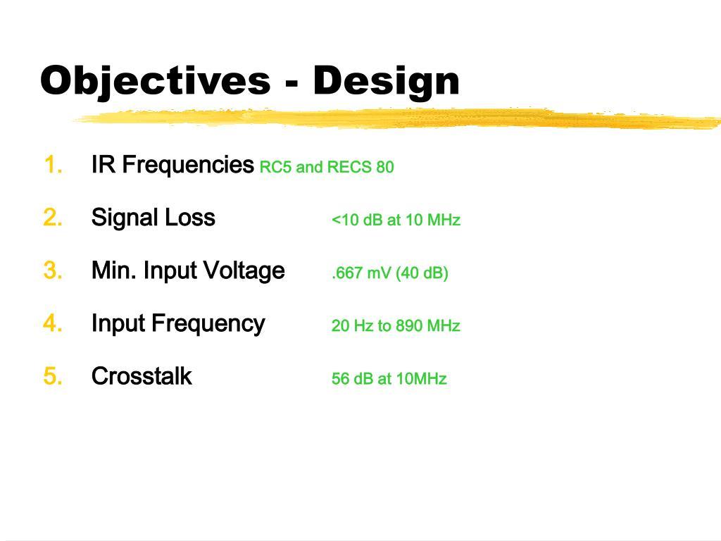 Objectives - Design