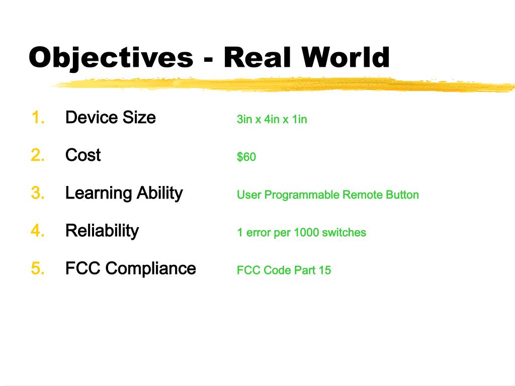 Objectives - Real World