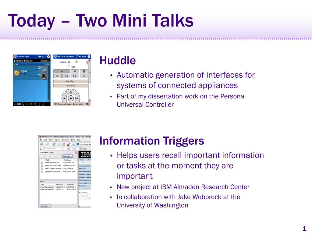 Today – Two Mini Talks