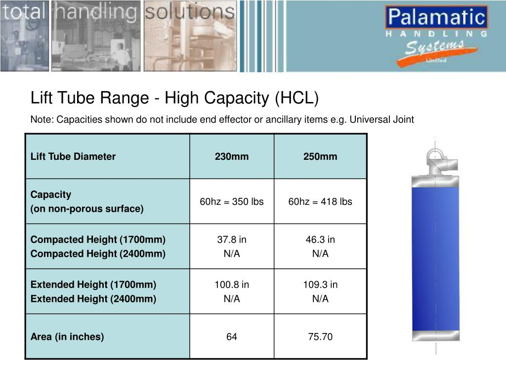 Lift Tube Range - High Capacity (HCL)