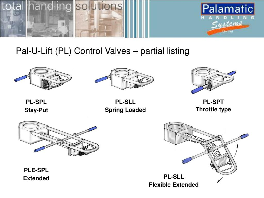 Pal-U-Lift (PL) Control Valves – partial listing