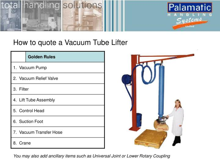 How to quote a Vacuum Tube Lifter