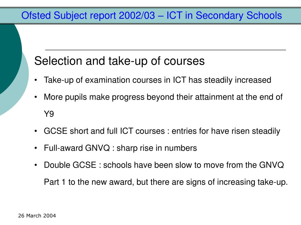 Ofsted Subject report 2002/03 – ICT in Secondary Schools