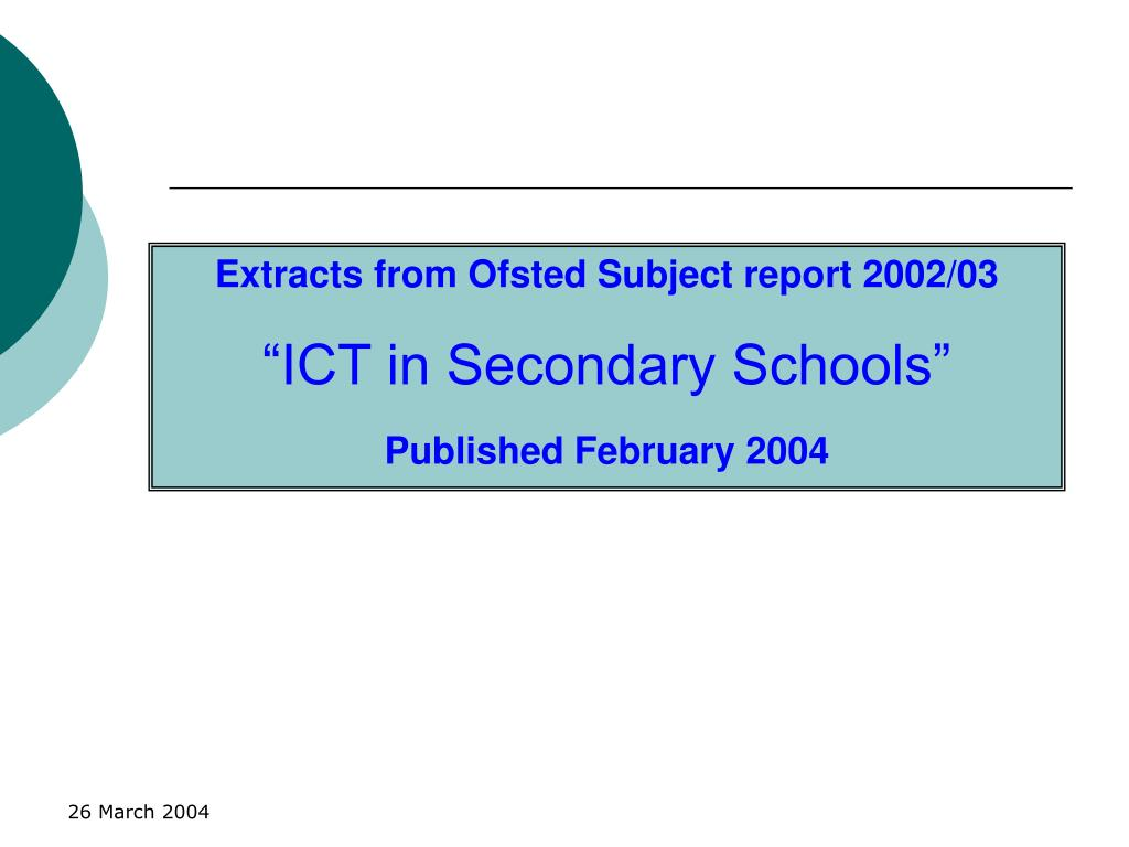 Extracts from Ofsted Subject report 2002/03