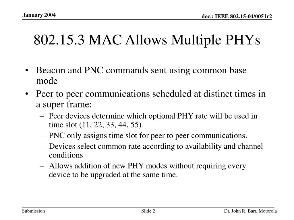 802.15.3 MAC Allows Multiple PHYs