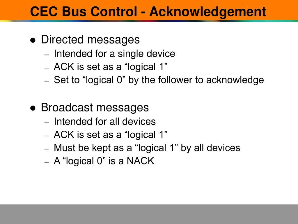 CEC Bus Control - Acknowledgement