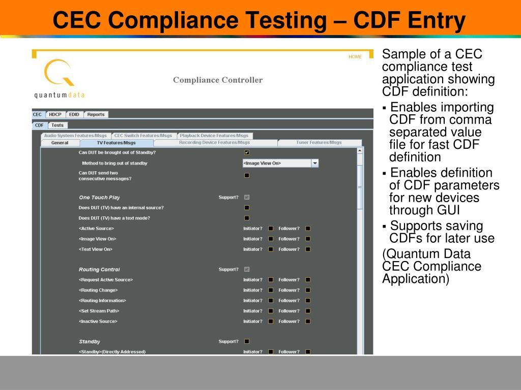 CEC Compliance Testing – CDF Entry