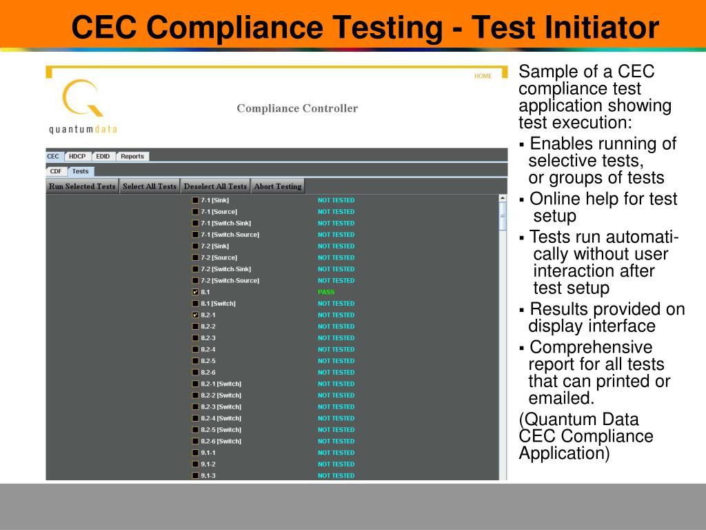CEC Compliance Testing - Test Initiator