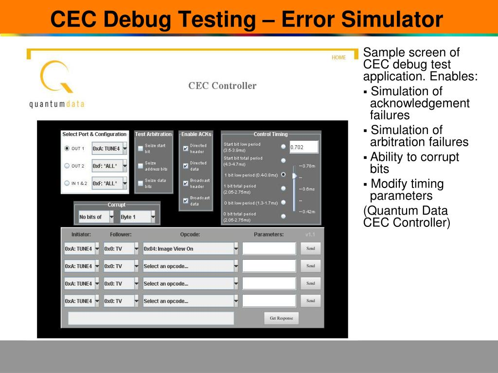 CEC Debug Testing – Error Simulator