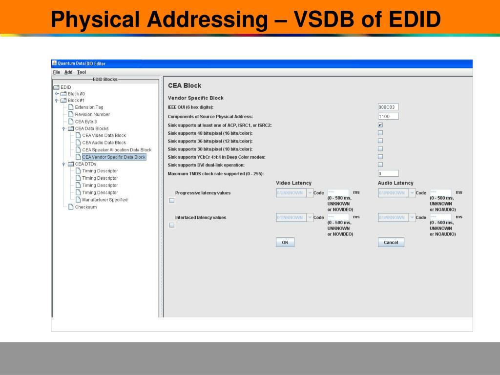 Physical Addressing – VSDB of EDID