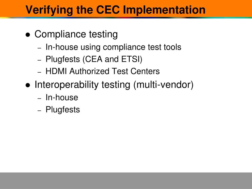 Verifying the CEC Implementation