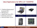 ideal applications for mp2 2 5 7200rpm