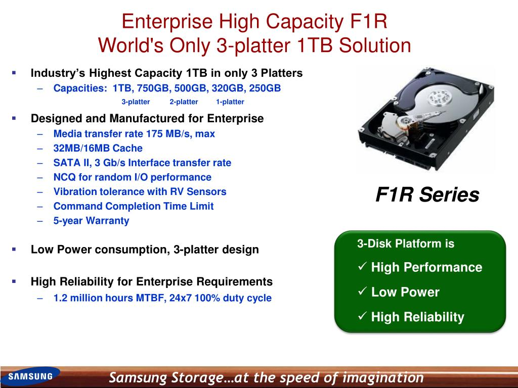 Industry's Highest Capacity 1TB in only 3 Platters