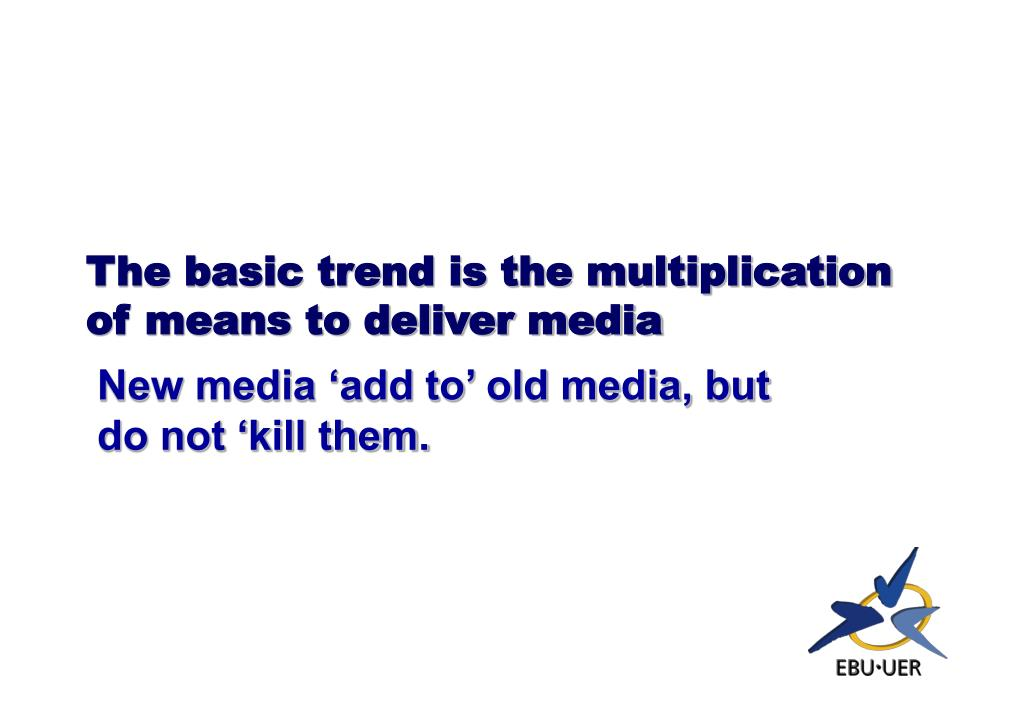 The basic trend is the multiplication of means to deliver media