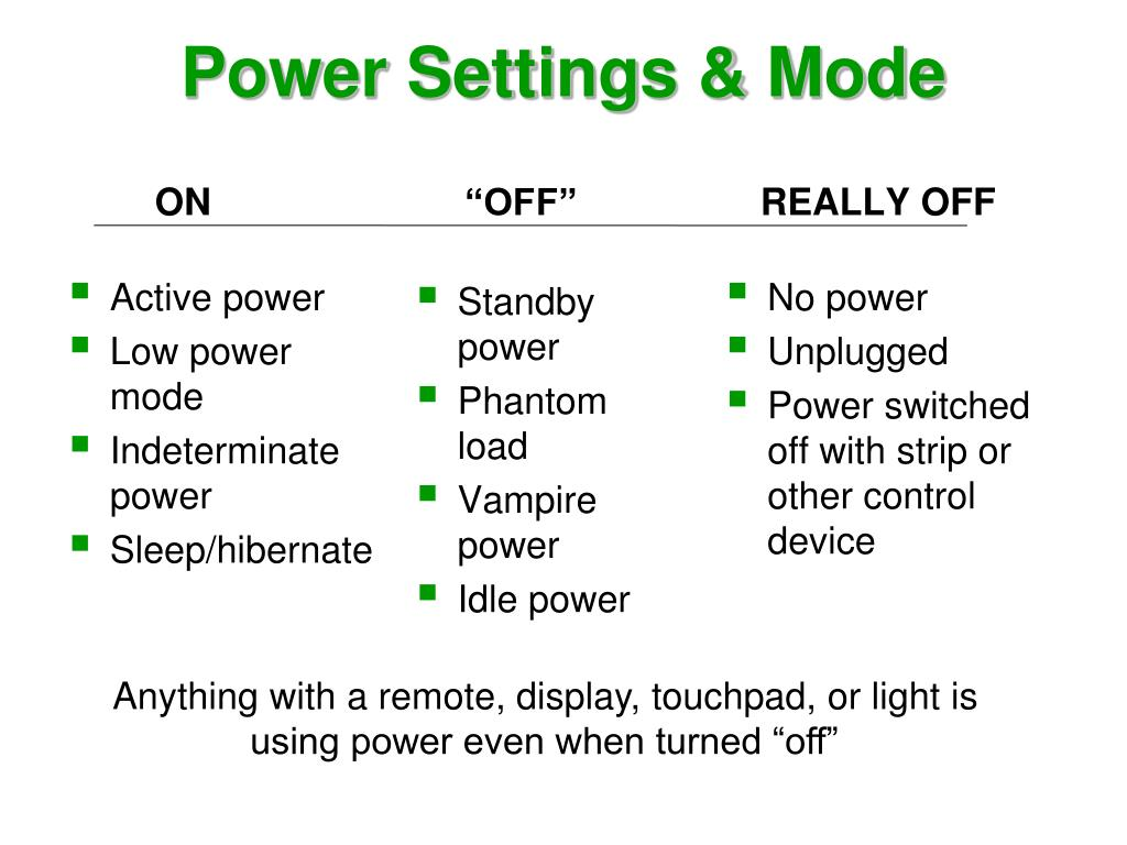 Power Settings & Mode