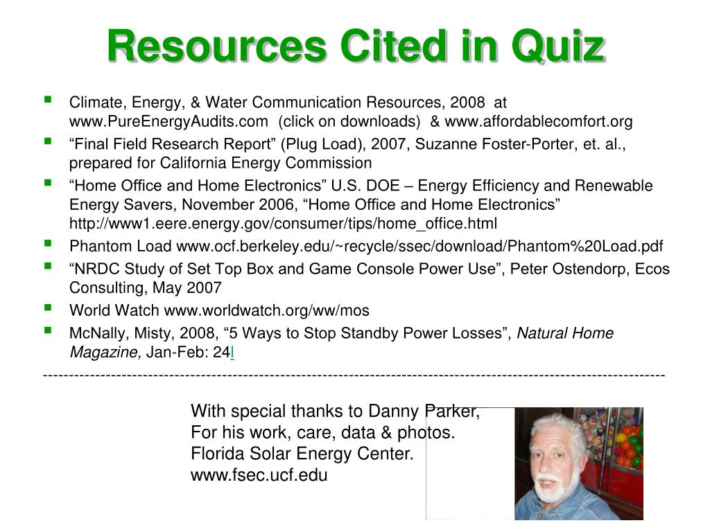 Resources Cited in Quiz