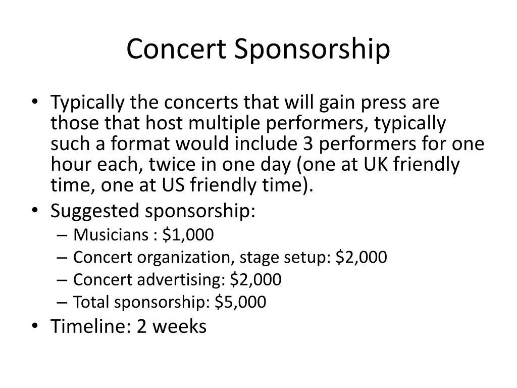 Concert Sponsorship