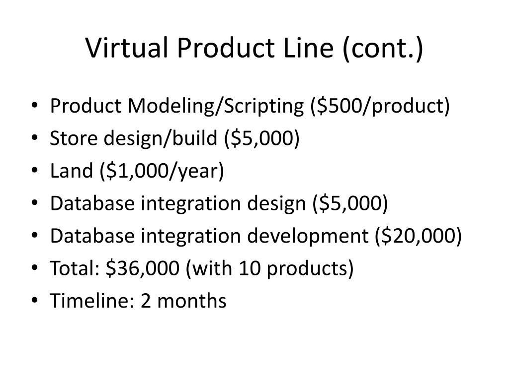 Virtual Product Line (cont.)