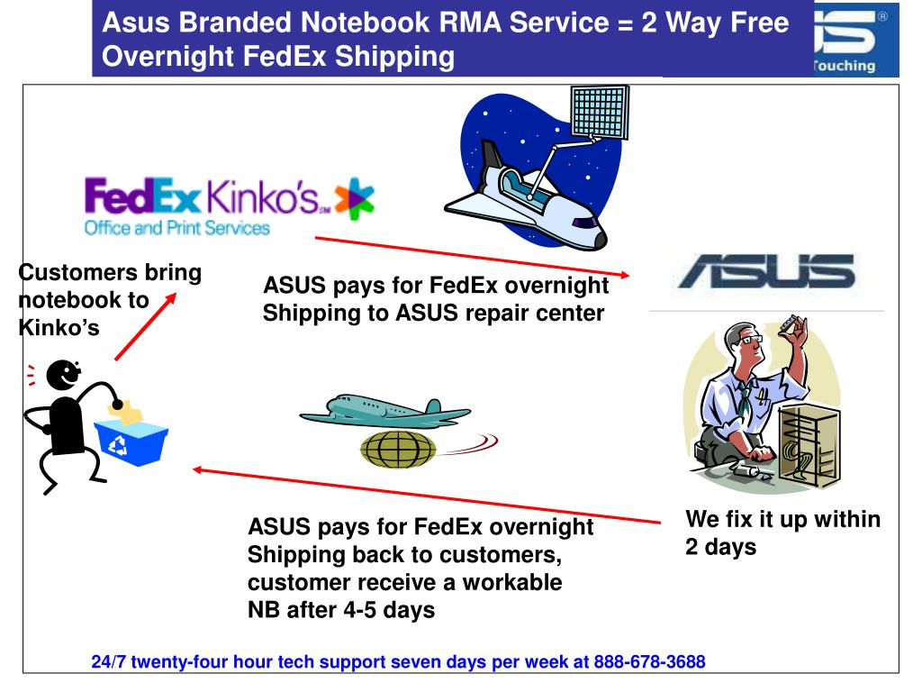 Asus Branded Notebook RMA Service = 2 Way Free Overnight FedEx Shipping