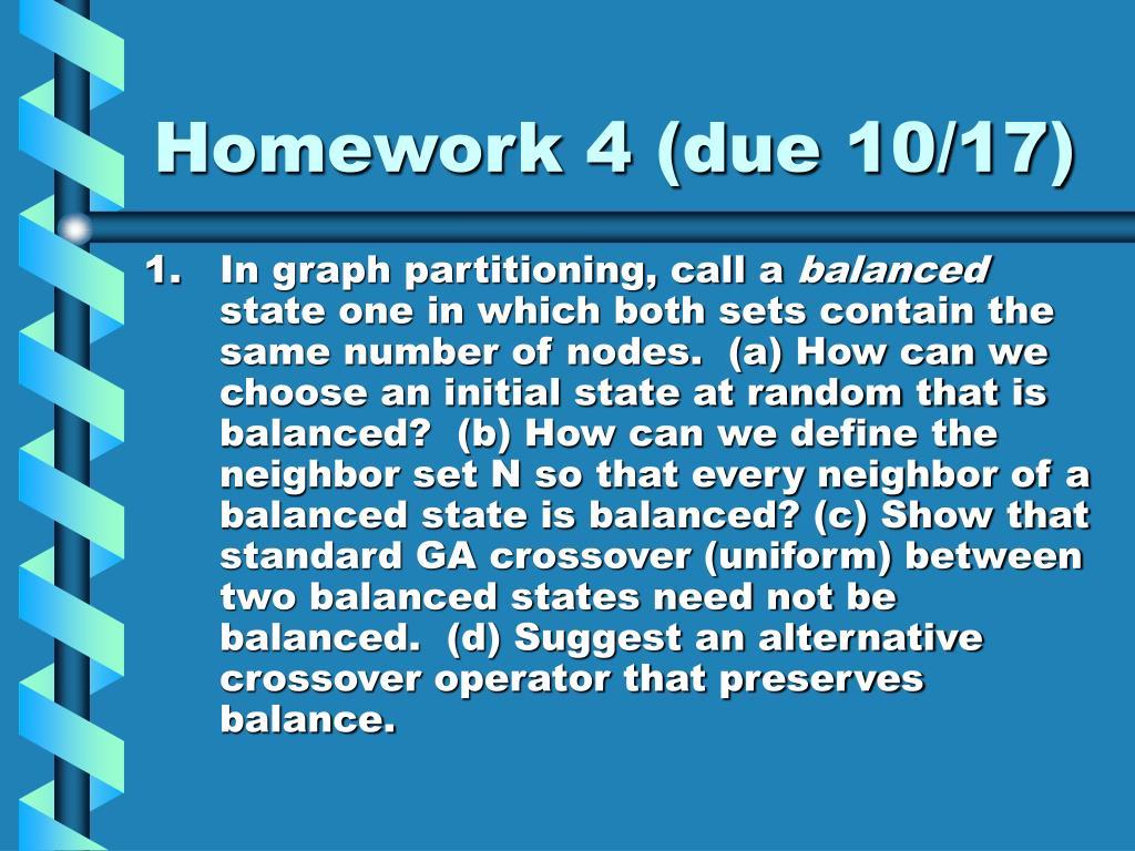 Homework 4 (due 10/17)