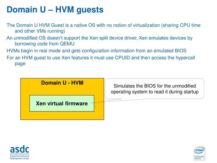 Domain U – HVM guests