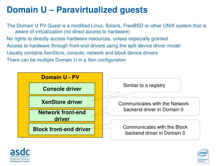 Domain U – Paravirtualized guests