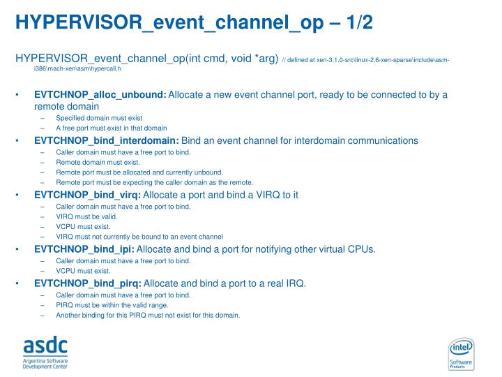 HYPERVISOR_event_channel_op – 1/2