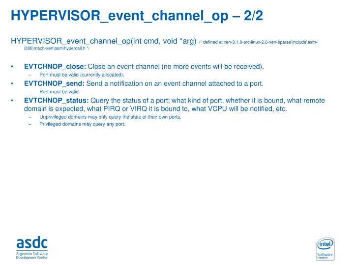 HYPERVISOR_event_channel_op – 2/2