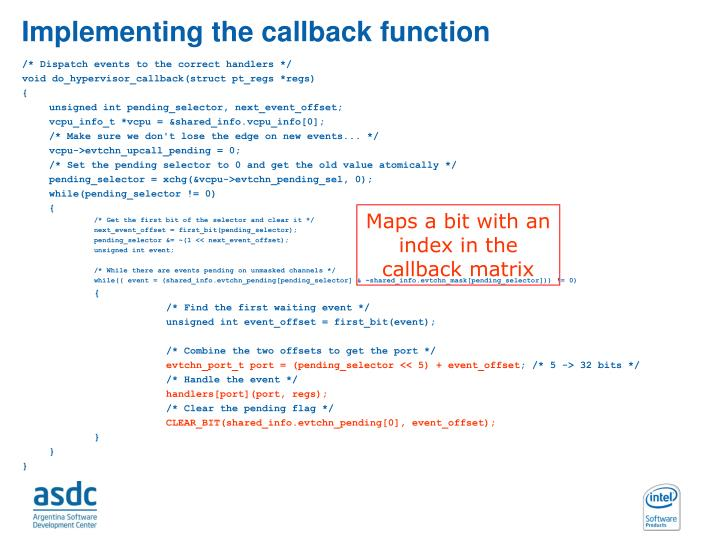 Implementing the callback function