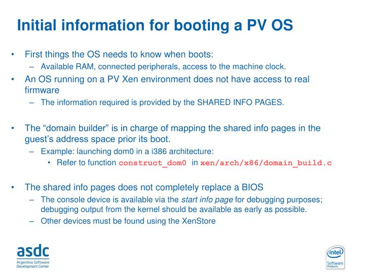 Initial information for booting a PV OS