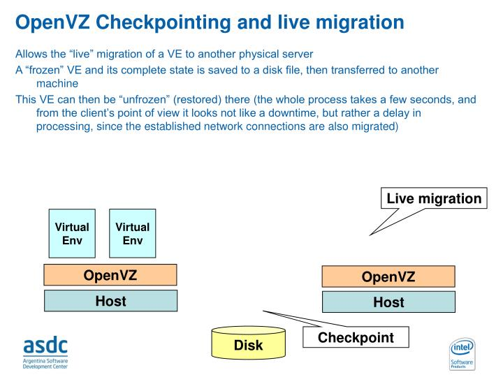 OpenVZ Checkpointing and live migration