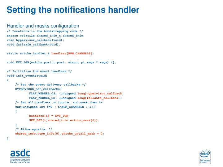 Setting the notifications handler