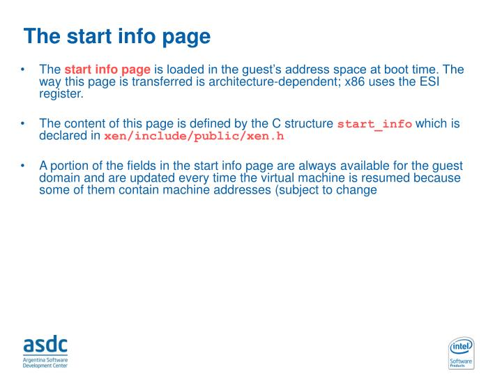 The start info page