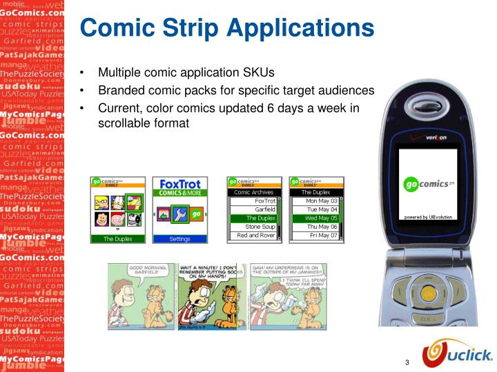 Comic strip applications