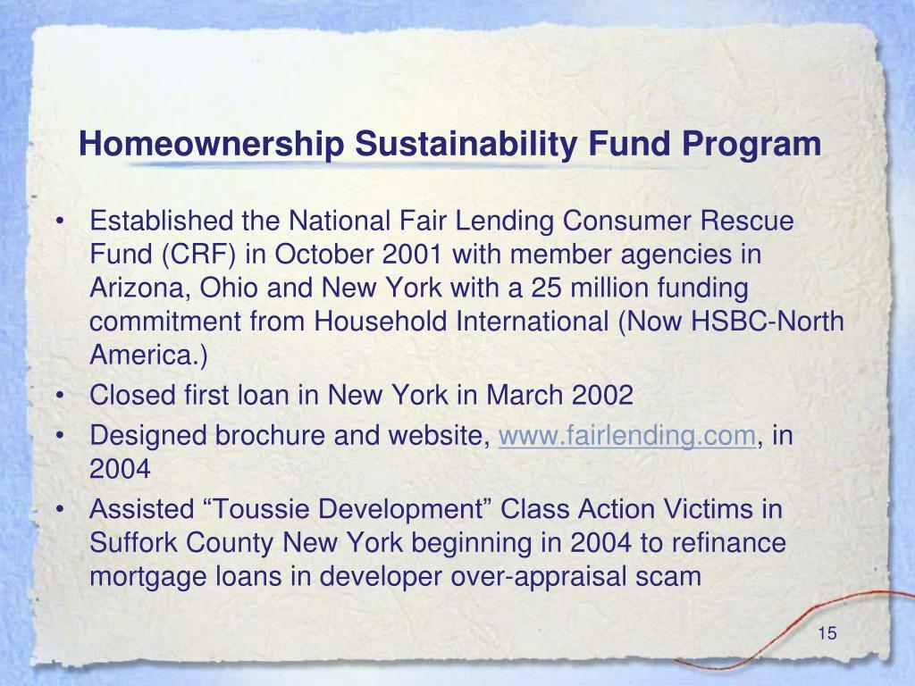 Homeownership Sustainability Fund Program