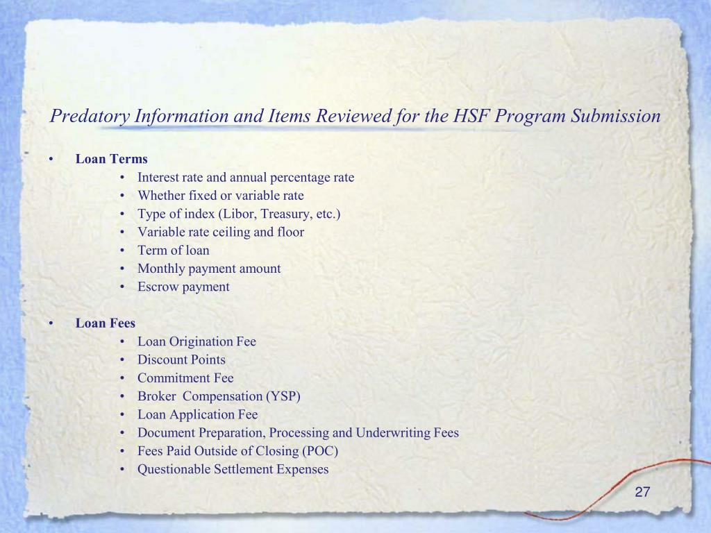 Predatory Information and Items Reviewed for the HSF Program Submission