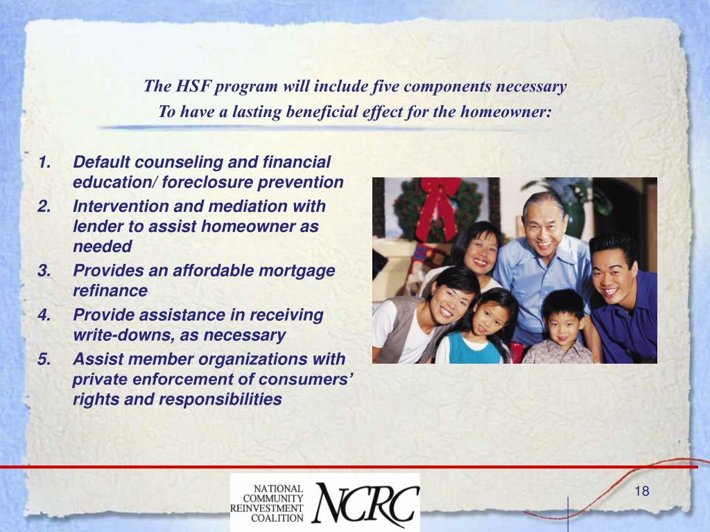 The HSF program will include five components necessary