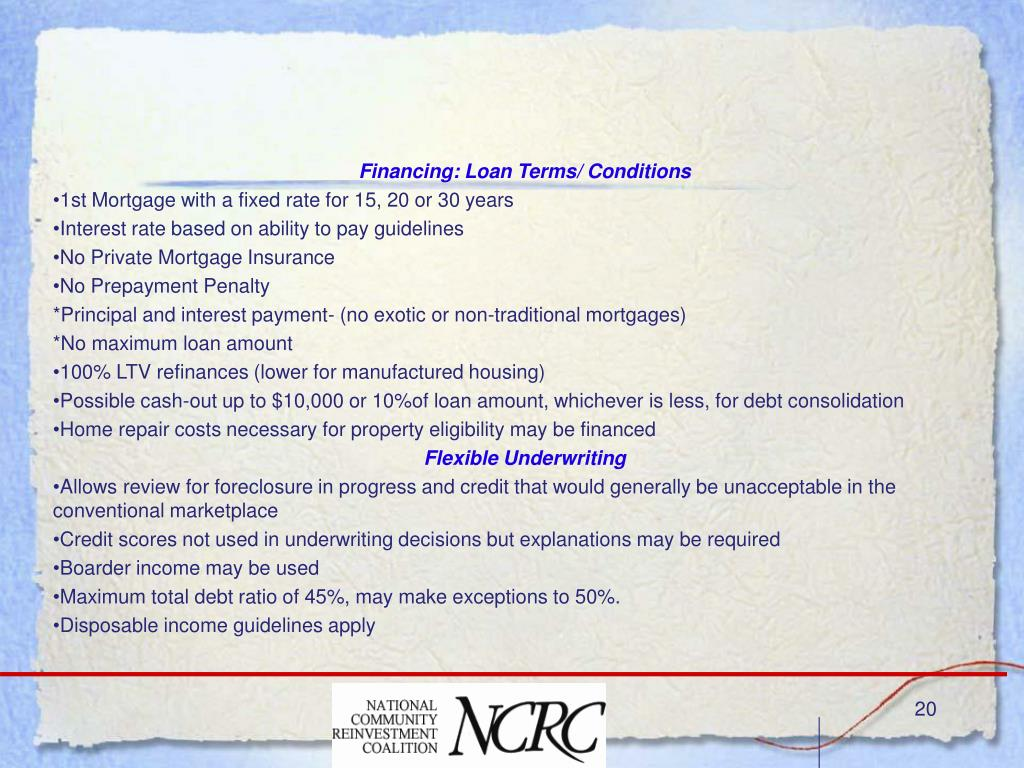 Financing: Loan Terms/ Conditions