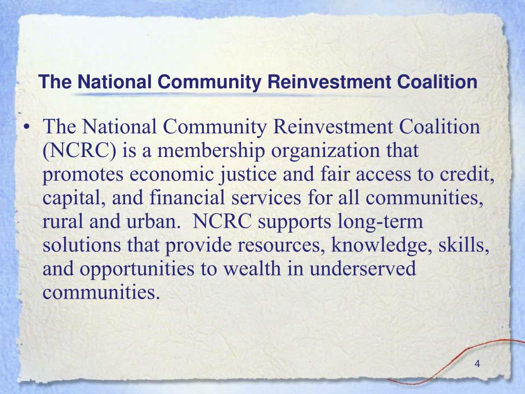 The National Community Reinvestment Coalition